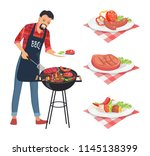 bbq barbecue man grilling meat... | Shutterstock .eps vector #1145138399