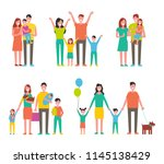 happy families set  vector icon ... | Shutterstock .eps vector #1145138429