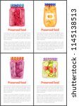preserved food posters set of... | Shutterstock .eps vector #1145138513