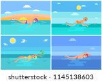 breaststroke and butterfly...   Shutterstock .eps vector #1145138603