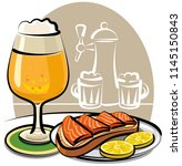 beer glass and sandwich with... | Shutterstock . vector #1145150843
