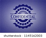 confidential badge with denim... | Shutterstock .eps vector #1145162003