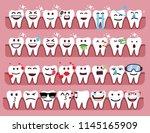 set cute tooth emoji emoticons   Shutterstock .eps vector #1145165909