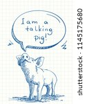 talking pig sniffs speech... | Shutterstock .eps vector #1145175680