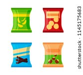 set of different snacks   salty ... | Shutterstock .eps vector #1145175683