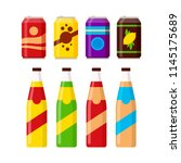 set of colorful soft drinks in... | Shutterstock .eps vector #1145175689