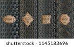 set of golden luxury templates. ... | Shutterstock .eps vector #1145183696