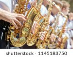 the brass band plays on the...   Shutterstock . vector #1145183750