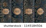 set of golden luxury templates. ... | Shutterstock .eps vector #1145184506