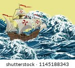 sailing ship in sea storm waves ... | Shutterstock .eps vector #1145188343