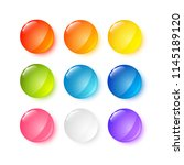 set of glossy round buttons | Shutterstock .eps vector #1145189120