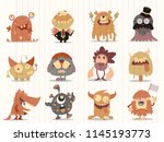 cartoon monsters collection.... | Shutterstock .eps vector #1145193773