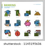 banking icon set | Shutterstock .eps vector #1145195636