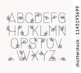 vector line decorative font.... | Shutterstock .eps vector #1145195699