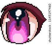 vector pixel art anime eye... | Shutterstock .eps vector #1145197460