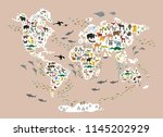 cartoon animal world map for... | Shutterstock .eps vector #1145202929