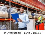 logistic business  shipment and ... | Shutterstock . vector #1145210183
