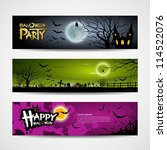 happy halloween banners set... | Shutterstock .eps vector #114522076