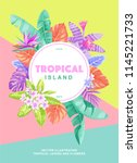 tropical poster with palm... | Shutterstock .eps vector #1145221733