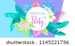 tropical party invitation with... | Shutterstock .eps vector #1145221736