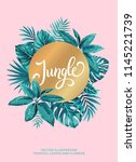 tropical poster with palm... | Shutterstock .eps vector #1145221739