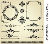 vintage set. floral elements... | Shutterstock . vector #1145221913
