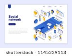 social network modern flat... | Shutterstock .eps vector #1145229113