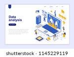 data analysis modern flat... | Shutterstock .eps vector #1145229119