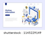 online education modern flat... | Shutterstock .eps vector #1145229149
