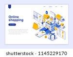 online shopping modern flat... | Shutterstock .eps vector #1145229170