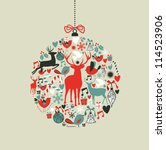 christmas decorations icons on...   Shutterstock .eps vector #114523906