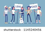 hippie movement demonstration.... | Shutterstock .eps vector #1145240456