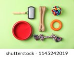 Stock photo flat lay composition with accessories for dog on color background pet care 1145242019