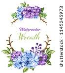 botanical wreath of green...   Shutterstock . vector #1145245973