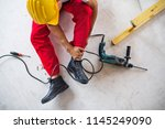 an accident of a man worker at... | Shutterstock . vector #1145249090
