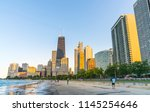 chicago city with concrete...   Shutterstock . vector #1145254646