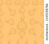 onion seamless pattern. vector...   Shutterstock .eps vector #1145258786