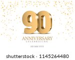 anniversary 90. gold 3d numbers.... | Shutterstock .eps vector #1145264480