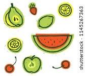 fruit set. food illustration....   Shutterstock .eps vector #1145267363