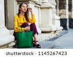 outtdoor full body fashion... | Shutterstock . vector #1145267423
