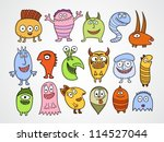 Set of funny Halloween monsters. - stock vector