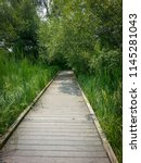 A wooden walkway at the Lake Kegonsa State Park in Wisconsin