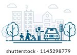 people cross the road. traffic... | Shutterstock .eps vector #1145298779