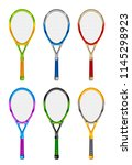 set of colored tennis rackets... | Shutterstock .eps vector #1145298923