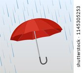 opened red umbrella protects...   Shutterstock .eps vector #1145305253
