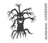 scary halloween tree with...   Shutterstock .eps vector #1145305259