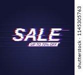sale banner with modern glitch... | Shutterstock .eps vector #1145305763