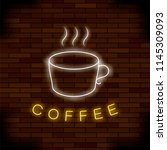 vector colored neon coffee cup... | Shutterstock .eps vector #1145309093