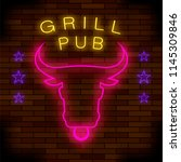 grill pub neon colorful sign on ... | Shutterstock . vector #1145309846