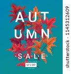 big autumn sale. fall sale... | Shutterstock .eps vector #1145312609